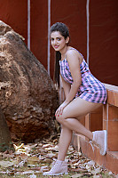 harshitha-gowda-hot-stills-in-pink-playsuit-3